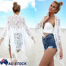 AU 6 - 14 Women Lace Crochet Tassel Cardigan Jacket Coat Top Beach Cover Up Boho