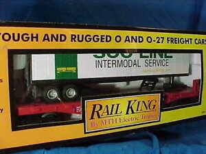 MTH O Gauge SOO-LINE FLAT CAR w TRAILER Load MINT in BOX