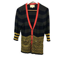 Lia Molly Anthropologie Coin Purse Cardigan Sweater Stripe Gold Accents Large