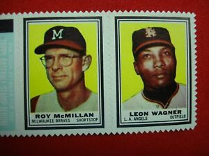 1962 TOPPS STAMP PANEL - ROY MCMILLAN & LEON WAGNER - WELL CENTERED & NICE!