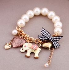 Betsey Johnson Jewelry Rhinestone Pearl Cute Elephant Golden Chain Bracelet  US