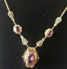 """Antique Victorian Amethyst And Gold Plated Locket Necklace 16"""""""