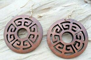 Greek Key Pattern Wooden Cutout Disc Hook Earrings 5cms NEW