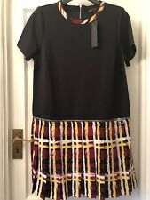 New Marc By Marc Jacobs Black & Check Pleated Short Decorative Zip Dress,L