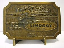 Lindasy Brothers Company Agriculture & Plumbing Supplies 1982 Brass Belt Buckle