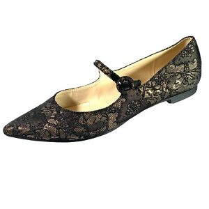 Franco Sarto Women's Mary Jane Shoes Pointed Toe Black/ Gold Quilted Size 7.5 M
