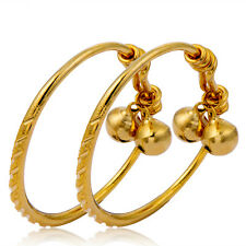24k gold filled carved 2 bells charms Cute bangle kids bracelet adjustable