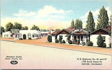 Unused Linen Postcard Columbine Motel Cottages Santa Fe Dr. Denver Co Hwy 85 87