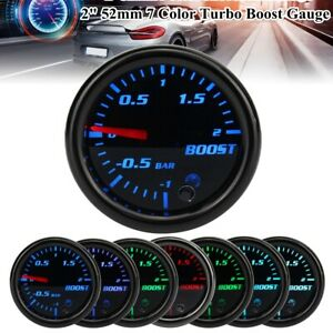 Universal 2'' 52mm 7 Color Car Turbo Boost Gauge Pointer LED BAR Pressure Meter