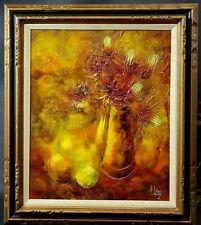 Vtg Signed P Leroy Still Life Impasto Impressionist Flowers Oil Painting Canvas
