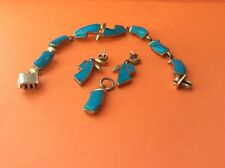 VTG Lot 4 pc 950 Fine Silver 23.4 grams Taxco Mexico Cabochon Turquoise Jewelry