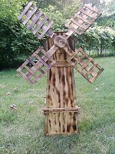 Finished Wood Burnt Handcrafted Wood Windmill