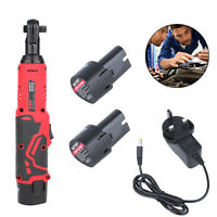 Electric Cordless Angle Wrench Tool 3/8'' 12V 90° 65Nm Right Ratchet + 2 Battery