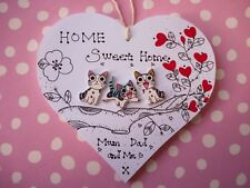Shabby chic Personalised Anniversary Gift Wooden Plaque sign home MUM DAD cat