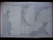 """1969 The CANARY ISLANDS Port Plans ADMIRALTY MAP Sea Chart 28"""" x 41"""" D74"""