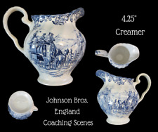 "JOHNSON BROS. England-COACHING SCENES-Blue Transferware-4.25"" CREAMER"