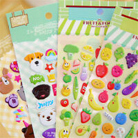 2sheets 3D Puffy Bubble Sticker Toys Children Car Animal Fruit Letter Sticker#Y6
