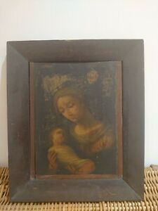 Antique oil on board, Madonna and Child