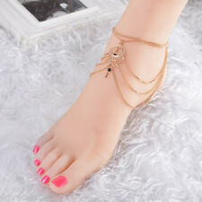 Restor Gold Black Beads Bohemia Hollow Out Beach Water Drop Anklet