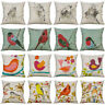 18'' Bird Pattern Pillow Case Cotton Linen Sofa Cushion Cover Home Decor