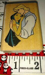 Pocahontas, embrace, Disney, rubber stampede,94,rubber,stamp, wooden