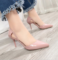 Women's Pointed Toe Stiletto High Heel Sandals Patent Leather Hollow Pumps Shoes