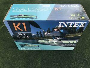 Intex K1 Challenger 1 Man Person Inflatable Kayak Canoe Oars & Pump 🚚🚚🚚🚚