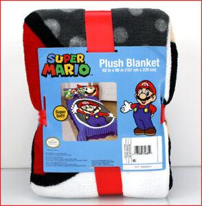 Nintendo SUPER MARIO Plush Bed BLANKET - TWIN Size - Blue 🌟BRAND NEW🌟