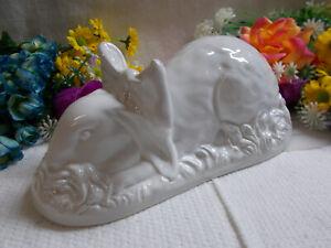 LOVELY CERAMIC RABBIT STATUE - HOLLOW - FLOPPY EARS 25 cm LONG VGC # 968