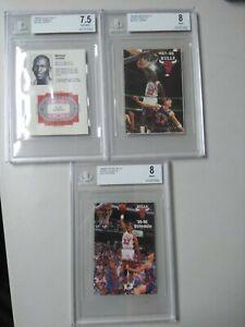 1984-85 87 & 89 Bulls Michael Jordan & Pippen RC Schedule BGS Graded LOT Rookies