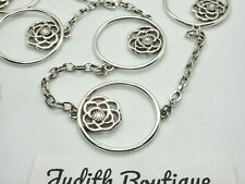 BRIGHTON  ROSE Silver Crystal Flower Round Disk Long Necklace