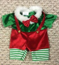 """Build-A-Bear Christmas ELF OUTFIT LIKE NEW Green Red White Bow Tie Fur 16"""""""
