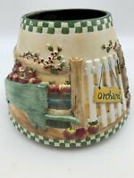 Yankee Candle Shade Large Apple Orchard Farm Ceramic **READ SOOT CRACK