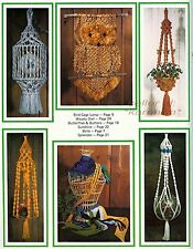 BIRD CAGE LAMP~Vtg Pattern Book~OWL~BELT~HANGING TABLE~What in the Macrame Is It