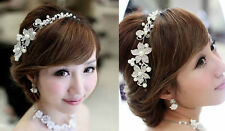 Silver Wedding Bridal Flower Rhinestone Pearls Hair Accessory Prom Party