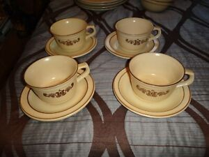 "PFALTZGRAFT ""VILLAGE"" LOT OF 4 COFFEE MUG CUPS 16 OZ WITH SAUCERS"