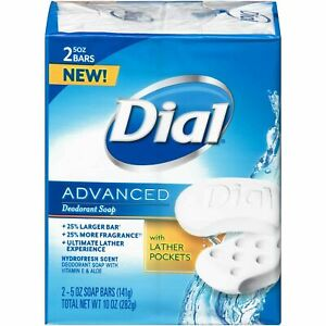 2 Bars Dial Advanced Deodorant Soap Bars Hydrofresh Scent, 10 OZ - Made In USA