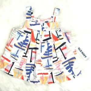 NWT Old Navy 6-12 Mo Abstract Painterly Sail Boat Primary Color Print Tank Dress