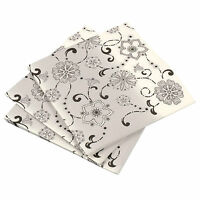 20 Pack Of 3 Ply Square Party Paper Napkins Serviettes - Black & White Floral