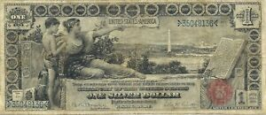 1896 $1 SILVER CERTIFICATE LARGE SIZE  ~ EDUCATIONAL SERIES ~ SHARP VERY FINE