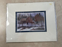 Vintage Amish Print Al Koenig 1993 Matted Buggy Kids Animals Farm Barn 10x8""