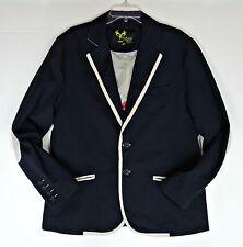 Doublju W Mens Casual Urban Blazer Jacket Asian XXL US L Elbow Patches Navy Blue