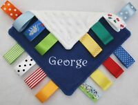 Personalised Taggy Blanket / Comforter - New Baby Boy Gift - ANY NAME / COLOUR!
