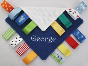 Personalised Taggy Blanket / Comforter New Baby Boy Girl Gift ANY NAME / COLOUR!