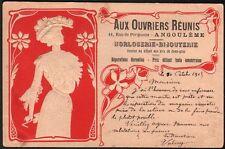 Angoulème. Aux ouvriers réunis. Horlogerie bijouterie. Art Nouveau