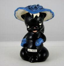 "deLee Art Mrs. Skunk w Blue Hat  Flower Holder, 6"" tall"