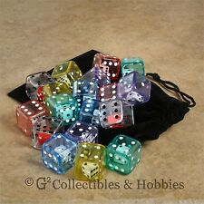 New 18 Double Dice Six Sided Large 19mm D6 + Bag Set Game Rpg Math