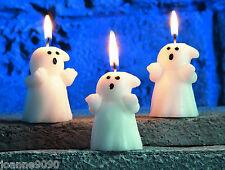 PACK OF 3 SMALL 6CM HALLOWEEN WHITE GHOST CANDLES FANCY DRESS PARTY DECORATION