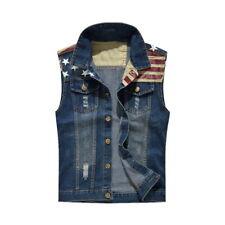 Fashion Men's Fit Retro Ripped Denim Vest Sleeveless Jean Vest and Jacket h8