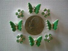 2 Hole Slider Beads Butterflies/Daisies Green Cryst Made w/Swarovski Elements #8